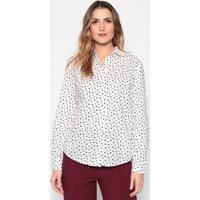 Camisa Poá Com Bolsos - Branca & Pretadudalina