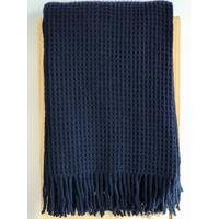 Manta Portuguesa Favos De Lã De Cordeiro Azul-Marinho 1.30 X1.70 M