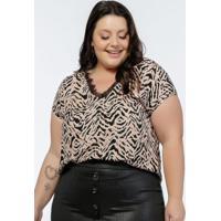 Blusa Plus Size Estampa Zebr Com Renda No Decote