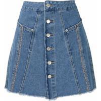 Nk Saia Jeans Twin Bordada - Azul