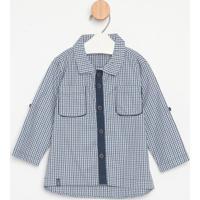 Camisa Xadrez Com Bolso- Azul & Brancagreen