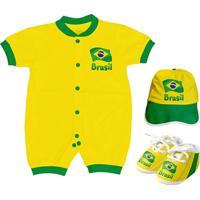 Kit Body Curto + Sapatinho E Boné Torcida Baby Brasil Unissex - Unissex