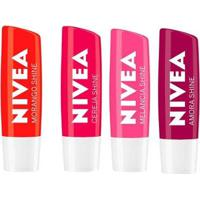Nivea Protetor Labial Shine Kit ? Morango + Cereja + Amora + Melancia Kit - Unissex-Incolor