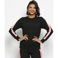 Blusa Texturizada Com Faixa- Preta & Rosa- Luktalluktal