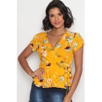Blusa Floral Com Amarração E Transpasse- Amarela & Brancvip Reserva