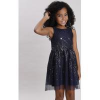 Vestido Infantil Em Tule Com Paetê Sem Manga Azul Marinho
