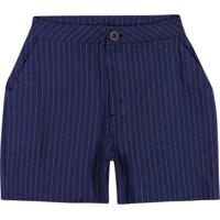 Shorts Azul Escuro Alfaiataria Fio Tinto