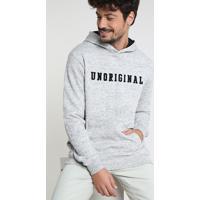 """Blusão Masculino """"Unoriginal"""" Em Moletom Com Capuz Cinza Mescla"""