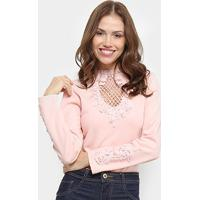 Body Chic Up Renda Manga Longa - Feminino-Rosa Claro