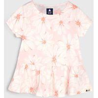 Blusa Gap Infantil Floral Off-White/Rosa