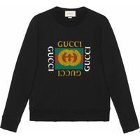 Gucci Moletom De Algodão Com Logo Gucci - Preto