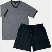 Pijama Gola V Em Algodão Mash Masculino - Masculino-Preto
