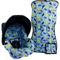 Conjunto Capa De Bebê Conforto E Capa De Carrinho Alan Pierre Baby 0 A 13 Kg - Dinossauro Azul Claro