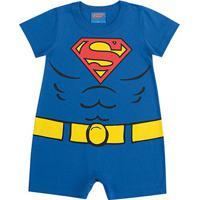 Body Banho De Sol Bebê Kamylus Liga Da Justiça - Masculino-Azul