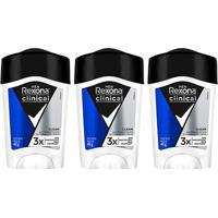 Kit Desodorante Antitranspirante Rexona Clinical Azul Masculino Stick 48G Com 3 Unidades - Unissex-Incolor