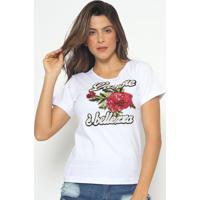 Blusa Com Paetãªs & Bordado- Branca & Vermelha- Fashifashion 500