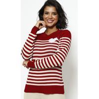 Blusa Em Tricot Listrada - Vermelha & Begeponto Aguiar