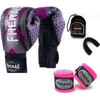 Kit Boxe Muay Thai Fheras New Top Luva + Bandagem Iron Rosa 007