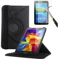 "Capa Giratória Inclinável Para Tablet Samsung Galaxy Tab3 7.0"" Sm-T110 T111 T113 T116 + Película De Vidro Preto"