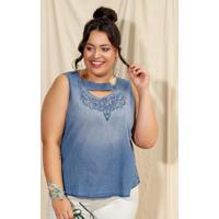 Blusa Com Bordado Azul Cativa Mais
