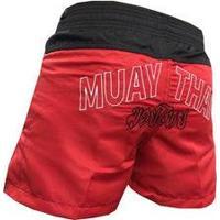 Calção / Short Muay Thai - Company - Bordado - Preto/Vermelho - Feminino