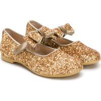 Florens Sapato De Couro Com Glitter - Dourado
