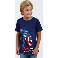 Camiseta Infantil Manga Curta Capitão América Marvel