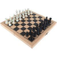 Jogo De Xadrez Escolar Carlu 32 Peças Com Tabuleiro Estojo Mdf