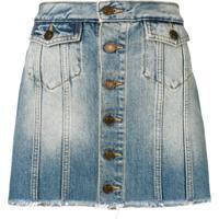 Saint Laurent Saia Jeans Com Abotoamento - Azul