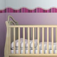 Faixa Decorativa Quartinhos Adesiva Infantil Lapis De Cor Rosa 10Mx10Cm