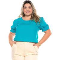 Blusa Ampla Almaria Plus Size Melonica Elástico Ma