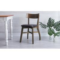 Cadeira Para Computador Estofada Bella - Capuccino E Couro Preto Tec. A100 - 44X51X82 Cm