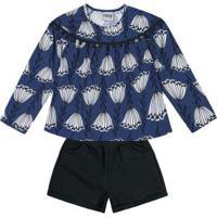Conjunto Blusa E Short Azul