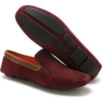 Mocassim Couro Navit Shoes Fóssil Masculino - Masculino-Vermelho