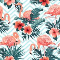 Papel De Parede Adesivo Chevron Com Flamingos (0,58M X 2,50M)