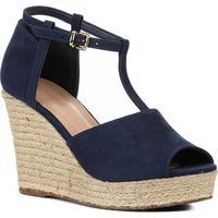 Sandália Plataforma Shoestock Corda Nobuck Feminina - Feminino-Marinho