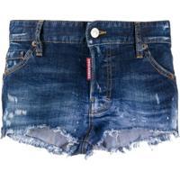 Dsquared2 Bermuda Jeans Com Efeito Destroyed - Azul