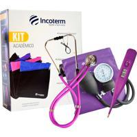 Kit Acadêmico Incoterm Ka100 Lilás Com 1 Estetoscópio Rappaport + 1 Esfigmomanômetro Aneróide + 1 Termômetro Digital + Bolsa