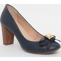 Sapato Em Couro Com Recortes & Tag - Azul Marinho- Sjorge Bischoff
