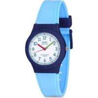 Relógio Pulso Q&Q Japan Analógico Infantil Masculino Borracha - Masculino-Azul