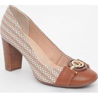 Sapato Em Couro Com Aviamento - Marrom & Branco- Saljorge Bischoff