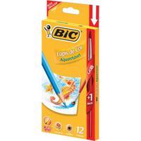 Lápis De Cor Com Pincel - 12 Cores - Aquarelável - Bic