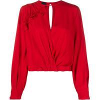 Pinko Blusa Com Transpasse - Vermelho