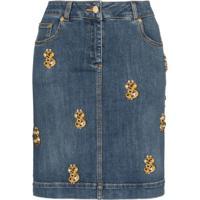 Moschino Saia Jeans Com Aplicações - Azul