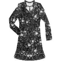 Vestido Feminino Estampado Preto