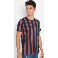 Camiseta Listrada Com Fenda- Azul Marinho & Vermelhacolcci