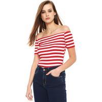 Blusa Coca-Cola Jeans Ombro A Ombro Off-White/Vermelha