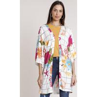 Kimono Feminino Estampado Fundo Do Mar Manga 3/4 Off White