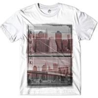 Camiseta Bsc Nova Iorque Cidade Que Nunca Dorme Masculina - Masculino-Branco