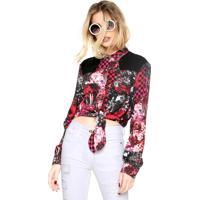 Camisa Ellus Estampada Preta/Rosa